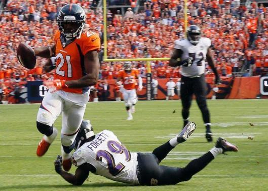 Broncos cornerback Aqib Talib grabs an interception. (Denver Broncos photo)
