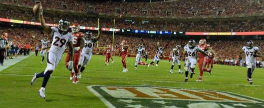 Broncos cornerback Bradley Roby intercepted the ball and scored to win the game for Denver. (Denver Broncos photo)