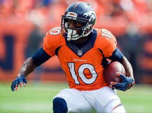 Emmanuel Sanders carries the ball. (Denver Broncos photo)