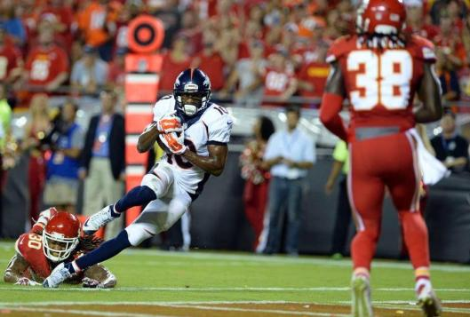 With less than two minutes to play Broncos wide receiver Emmanuel Sanders scored a touchdown to tie the game.  (Denver Broncos photo)