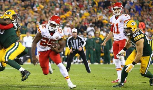 Chiefs star running back Jamaal Charles, No. 25,  Monday night scored three touchdowns in the game against Green Bay. (Kansas City Chiefs photo)