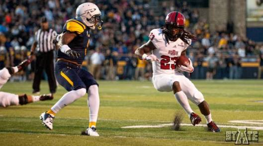 Arkansas State's J.D. McKissic scored a touchdown on a 92-yard kickoff return and accounted for 252 total yards Saturday in Toledo. (Arkansas State University photo)