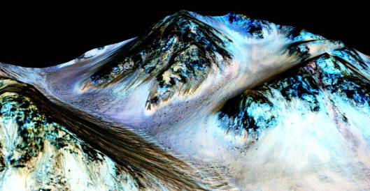 These dark, narrow, 100 meter-long streaks called recurring slope lineae flowing downhill on Mars are inferred to have been formed by contemporary flowing water. Recently, planetary scientists detected hydrated salts on these slopes at Hale crater, corroborating their original hypothesis that the streaks are indeed formed by liquid water. The blue color seen upslope of the dark streaks are thought not to be related to their formation, but instead are from the presence of the mineral pyroxene. The image is produced by draping an orthorectified (Infrared-Red-Blue/Green(IRB)) false color image (ESP_030570_1440) on a Digital Terrain Model (DTM) of the same site produced by High Resolution Imaging Science Experiment (University of Arizona). Vertical exaggeration is 1.5.  (Credits: NASA/JPL/University of Arizona}