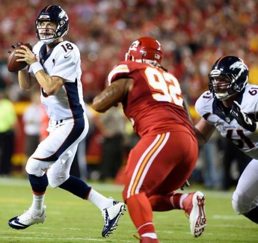 Quarterback Peyton Manning saved the day for the Broncos Thursday night.  (Denver Broncos photo)
