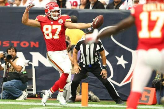 Chiefs tight end Travis Kelce scored two touchdowns Sunday. (Kansas City Chiefs photo)