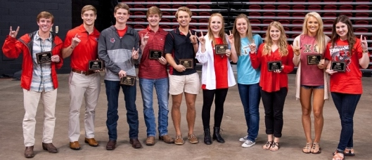 Arkansas State University Homecoming Court members are (from left) Jonathan Freeman, Drew Short, Logan Mustain, Carter Lee, Jared Dietz, Rebecca Galloway, Kaily Nix, Emily Peters, Madison Brooks and Erin Wadley.  (ASU Photo)