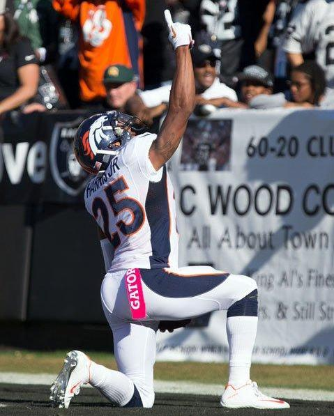 Chris Harris celebrates his game-winning touchdown for the Broncos.  (Denver Broncos photo)