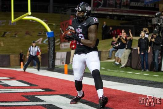 Senior Red Wolves tight end Darion Griswald scored a touchdown at the start of the second quarter Tuesday. (ASU Photo)