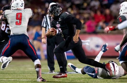ASU Red Wolves star quarterback Fredi Knighten was back on the field Tuesday night in Alabama after being on the injured list for three games.  (ASU Photo)