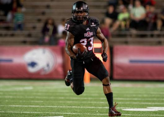 Red Wolves wide receiver J.D.  McKissic  scored the 2-point conversion after Tres Houston's toucdown in the fourth quarter Tuesday night.  (ASU Photo)