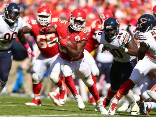 Before being injured early in the third quarter, Chiefs star running back Jamaal Charles had 12 carries for 58 rushing yards in the game against the Chicago Bears Sunday. (Kansas City Chiefs photo)