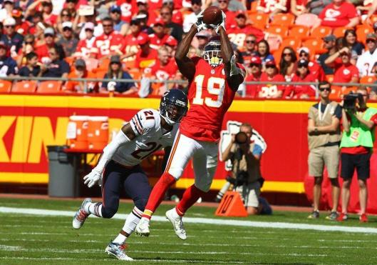 Wide receiver Jeremy Maclin and running back Jamaal Charles were the main runners for the Chiefs during the first half of the game Sunday. (Kansas City Chiefs photo)