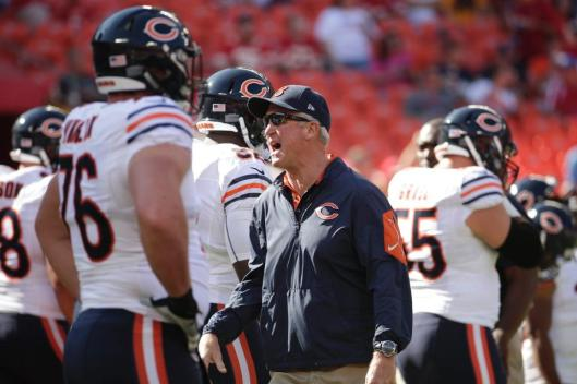 Bears Coach John Fox talks to his team before the game Sunday. (Chicago Bears photo)
