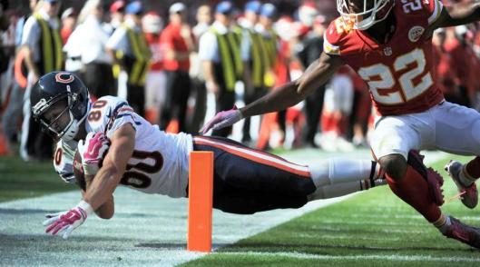 Marc Mariani scores a touchdown for the Bears. (Chicago Bears photo)