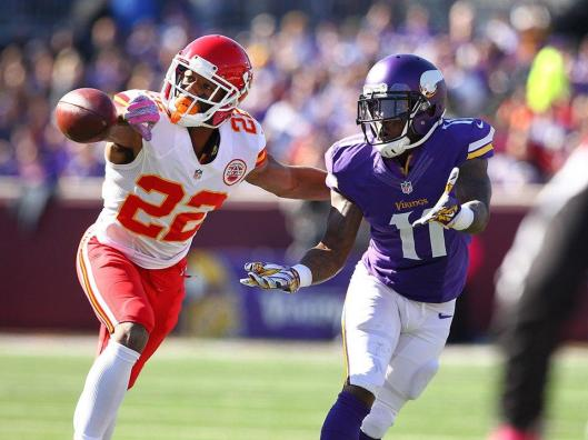 Chiefs defensive back Marcus Peters, No. 22, made his third interception of the season Sunday. (Kansas City Chiefs photo)