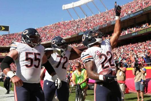 Matt Forte, No. 22, celebrates his winning touchdown for the Bears Sunday. (Chicago Bears photo)