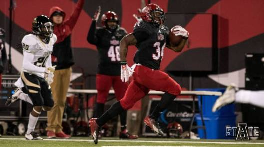 Arkansas State running back Michael Gordon scored three touchdowns in the game against Idaho Saturday. He rushed for a total of 221 yards. (ASU Photo)