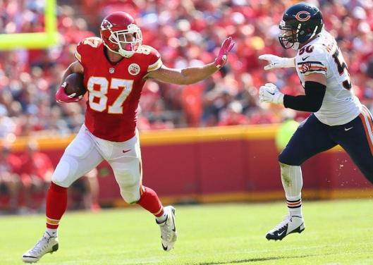 Tight end Travis Kelce runs for the Chiefs (Kansas City Chiefs photo)