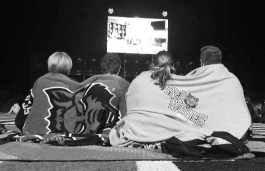 Red Wolves fans at Centennial Stadium trying to keep warm (ASU Facebook photo)