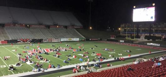ASU opened Centennial Stadium in Jonesboro Tuesday night for fans wanting to watch the South Alabama game on a gigantic big screen. (ASU Facebook photo)