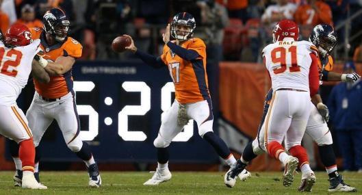 Broncos backup quarterback Brock Osweiler took over in the third quarter of the game against the Kansas City Chiefs Sunday. (Denver Broncos photo)