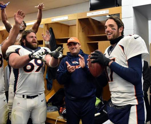 Brock Osweiler got the game ball Sunday. Appropriately, Sunday was his 25th birthday. (Denver Broncos photo)