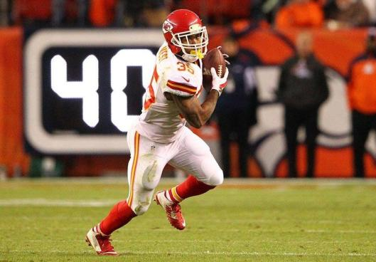 Chiefs running back Charcandrick West Sunday scored two touchdowns against the Broncos. (Kansas City Chiefs photo)