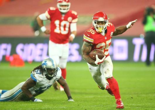 Chiefs running back Charcandrick West scored the final Kansas City touchdown of the first half Sunday.  (Kansas City Chiefs photo)