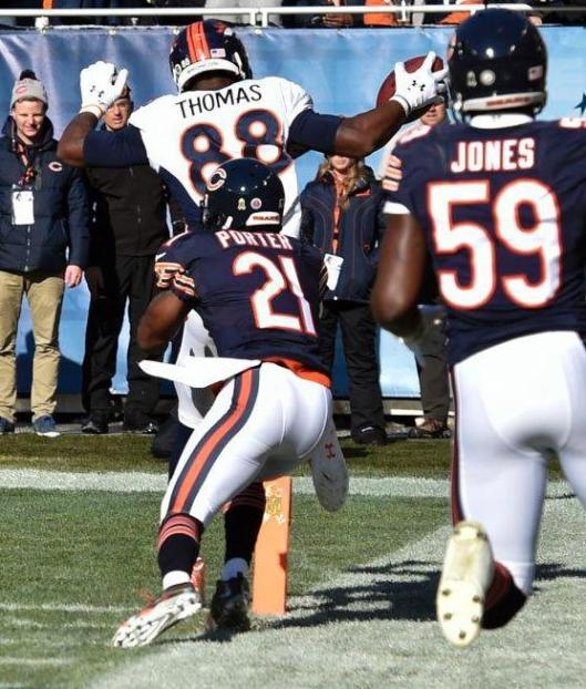 Demaryius Thomas made it to the end zone for a Broncos touchdown Sunday. (Denver Broncos photo)