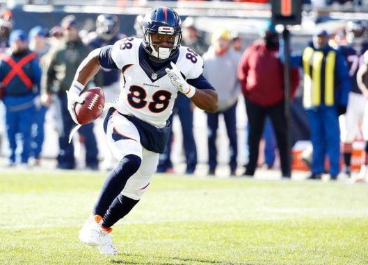 Wide receiver Demaryius Thomas scored a Broncos touchdown in the first quarter Sunday. (Denver Broncos photo)