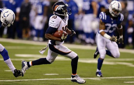 Broncos wide receiver Emmanuel Sanders scored a touchdown with a 60-yard pass reception at the start of the third quarter Sunday. (Denver Broncos photo)