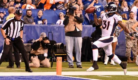 Bronco Omar Bolden scored a touchdown with an 83-yard punt return at the end of the first half of the game against the Colts in Indianapolis. (Denver Broncos photo)