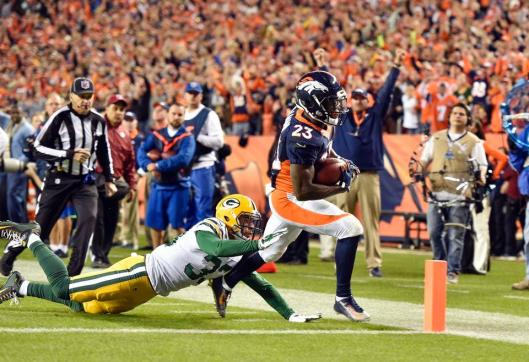Broncos running back Ronnie Hillman Sunday scored two touchdowns in the game against the Green Bay Packers. (Denver Broncos Photo)
