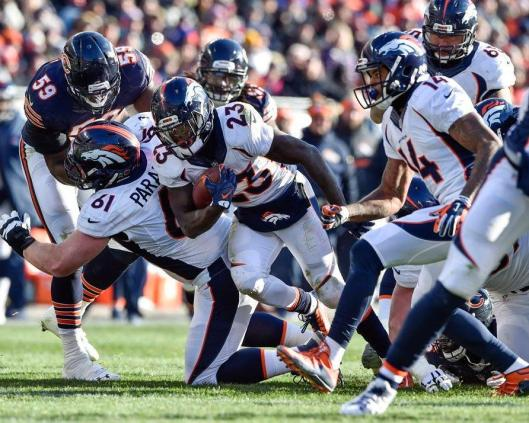 Broncos running back Ronnie Hillman almost made it to the end zone in the first half Sunday, but he tripped before he got there. (Denver Broncos photo)
