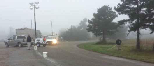 Scene of the hit-and-run incident on Old Military Road near Mountain Home. (Baxter County Sheriff's Office photo)