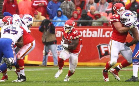 Running back Spencer Ware scored the Chiefs' first touchdown against the Buffalo Bills Sunday. (Kansas City Chiefs photo)