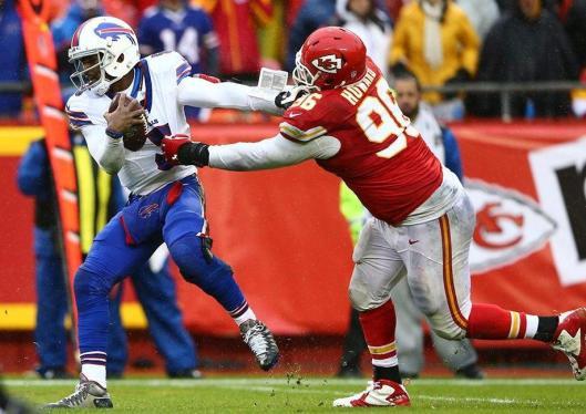 Bills quarterback Tyrod Taylor about to be sacked by Chiefs linebacker Jaye Howard (Kansas City Chiefs photo)