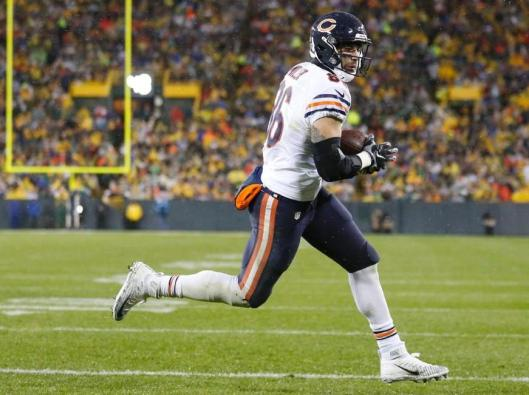Bears running back Zack Miller scored a touchdown in the first half Thursday to tie the score at 7-7.  (Chicago Bears photo)
