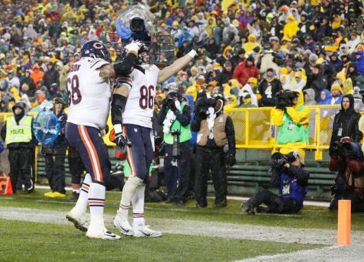 Bears tight end Zack Miller, No. 86, celebrates his touchdown.  (Chicago Bears photo)