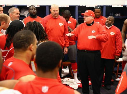 Chiefs Coach Andy Reid talks to his team after the game Sunday.  (Kansas City Chiefs photo)