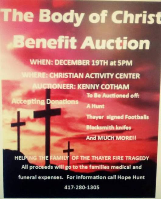 Body of Christ Benefit Auction flyer