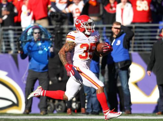 Running back Charcandrick West Sunday ran 38 yards to score the Chiefs' first touchdown near the start of the game.  (Kansas City Chiefs photo)