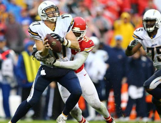 Dee Ford sacked Chargers quarterback Philip Rivers three times Sunday. (Kansas City Chiefs photo)