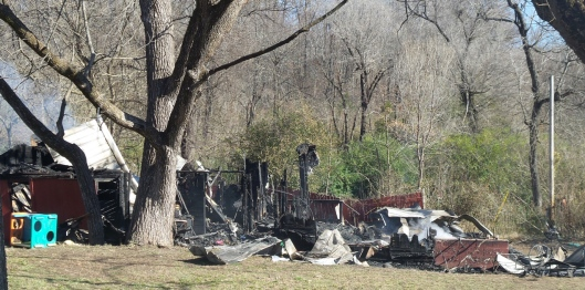 Scene of the house fire on CR 358 (Hill 'n Holler staff photo)