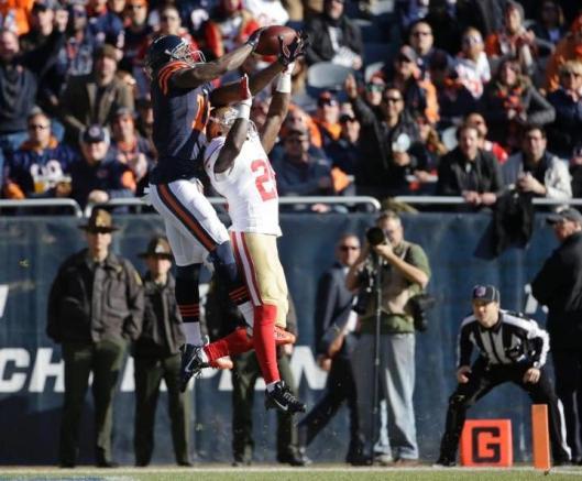 Bears wide receiver Joshua Bellamy (left) gets the ball. (Chicago Bears photo)