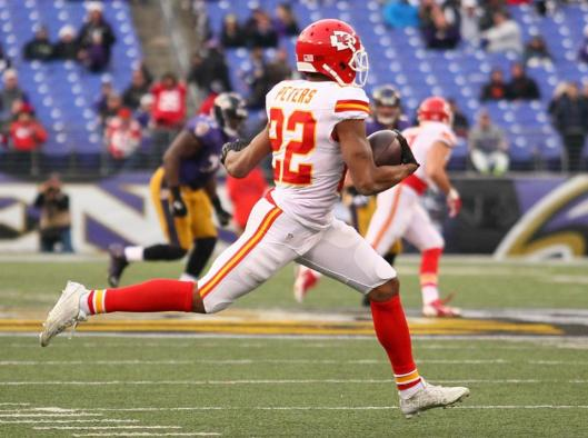 Cornerback Marcus Peters ran 90 yards for a touchdown after intercepting the ball.  (Kansas City Chiefs photo)