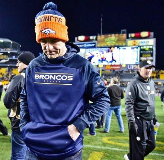 Peyton Manning was not happy at the end of the game Sunday. (Denver Broncos photo)