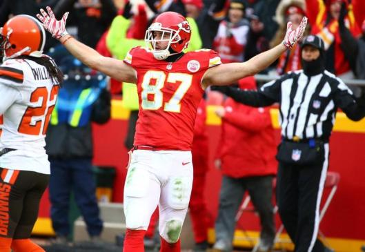 Tight end Travis Kelce was happy over scoring the second Chiefs touchdown Sunday. (Kansas City Chiefs photo)