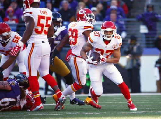 Safety Tyvon Branch picked up a fumbled ball and ran 73 yards to give the Chiefs a touchdown in the first quarter. (Kansas City Chiefs photo)