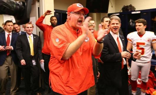Chiefs Head Coach Andy Reid applauds his team after the game Saturday. (Kansas City Chiefs photo)